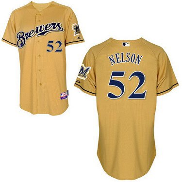 Milwaukee Brewers #52 Jimmy Nelson Yellow Jersey