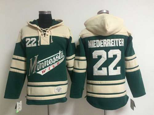 Minnesota Wild #22 Nino Niederreiter Old Time Hockey Green Hoodie