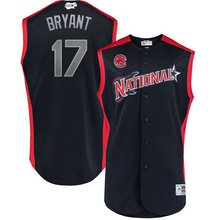 National League 17 Kris Bryant Navy 2019 MLB All-Star Game Workout Player Jersey