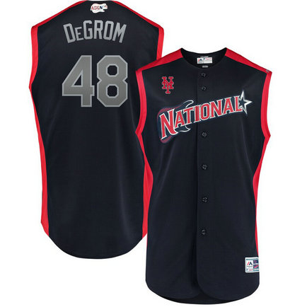 National League 48 Jacob DeGrom Navy 2019 MLB All-Star Game Workout Player Jersey