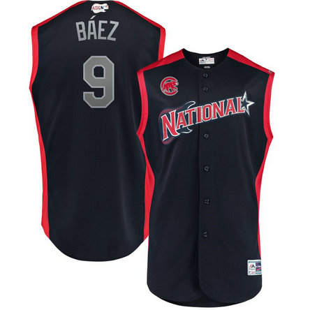National League 9 Javier Baez Navy 2019 MLB All-Star Game Workout Player Jersey