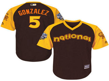 National League Colorado Rockies #5 Carlos Gonzalez Brown 2016 MLB All-Star Jersey - Men's