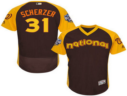 National League Washington Nationals #31 Max Scherzer Brown 2016 All-Star Jersey - Men's