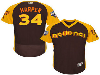National League Washington Nationals #34 Bryce Harper Brown 2016 All-Star Jersey - Men's