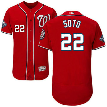 Nationals #22 Juan Soto Red 2019 World Series Bound FlexBase Jersey