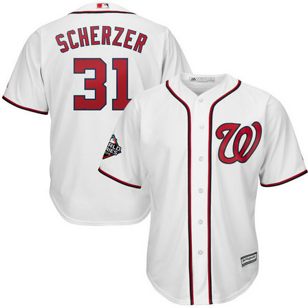 Nationals #31 Max Scherzer White 2019 World Series Bound Cool Base Jersey