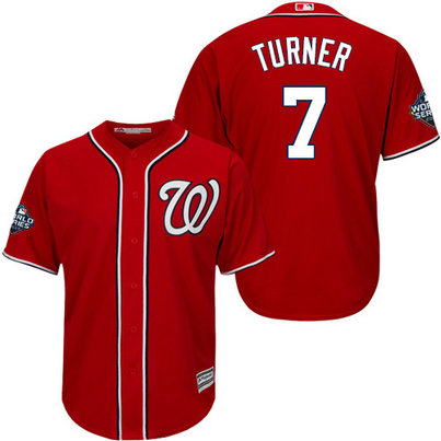 Nationals #7 Trea Turner Red 2019 World Series Bound Cool Base Jersey