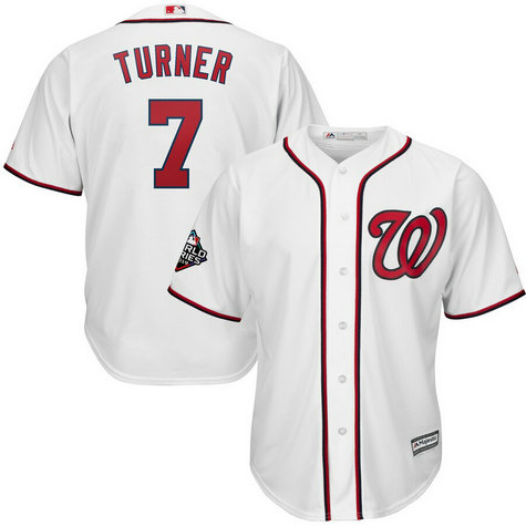 Nationals #7 Trea Turner White 2019 World Series Bound Cool Base Jersey