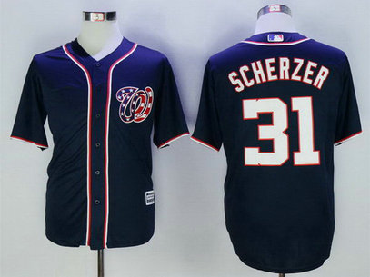 Nationals 31 Max Scherzer Navy New Cool Base Jersey