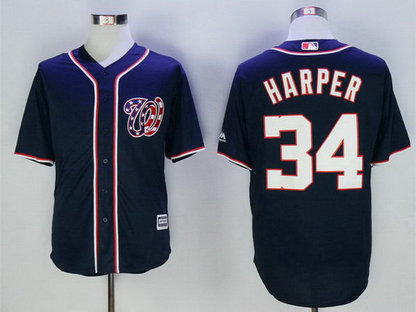 Nationals 34 Bryce Harper Navy New Cool Base Jersey