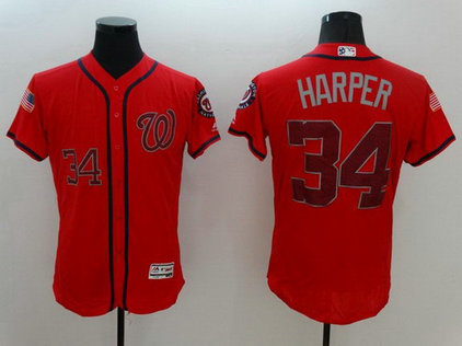 Nationals 34 Bryce Harper Red Fashion Stars & Stripes Flexbase Jersey