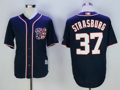 Nationals 37 Stephen Strasburg Navy New Cool Base Jersey