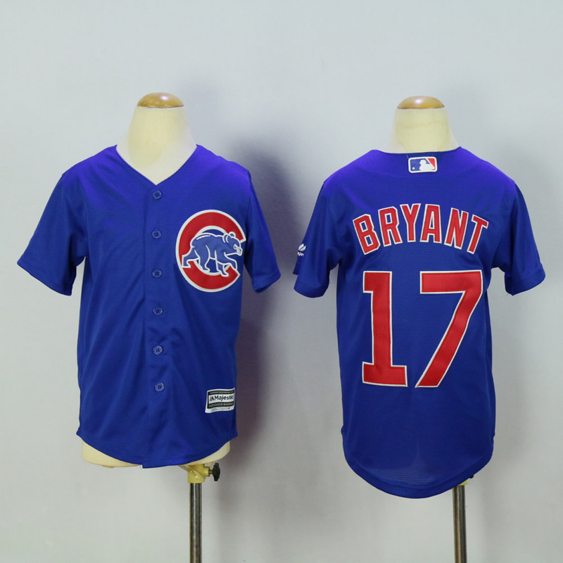 New Chicago Cubs Jersey Kids 17 Kris Bryant Blue Coolbase
