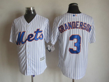 New York Mets #3 Curtis Granderson Home White Pinstripe 2015 MLB Cool Base Jersey