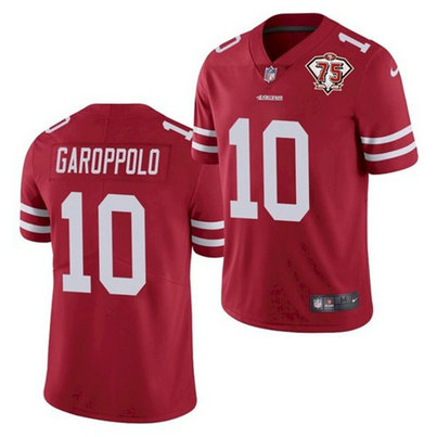 Nike 49ers 10 Jimmy Garoppolo Red 75th Anniversary Vapor Untouchable Limited Jersey