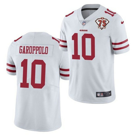 Nike 49ers 10 Jimmy Garoppolo White 75th Anniversary Vapor Untouchable Limited Jersey