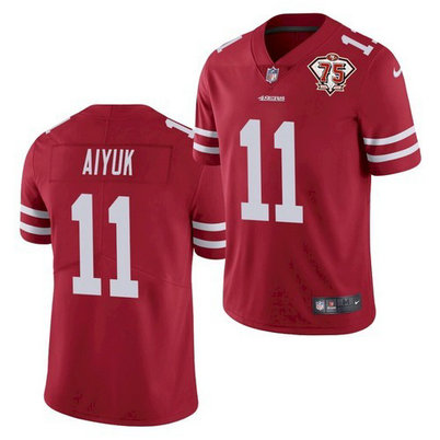 Nike 49ers 11 Brandon Aiyuk Red 75th Anniversary Vapor Untouchable Limited Jersey
