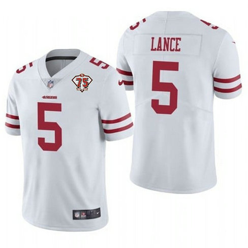 Nike 49ers 5 Trey Lance White 75th Anniversary Vapor Untouchable Limited Jersey