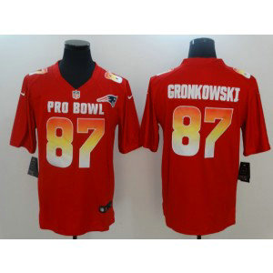 Nike AFC Patriots 87 Rob Gronkowski Red 2019 Pro Bowl Game Men Jersey