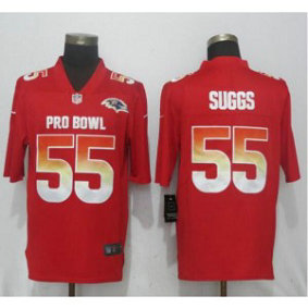 Nike AFC Ravens 55 Terrell Suggs Red 2019 Pro Bowl Game Men Jersey