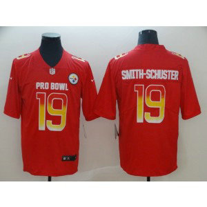 Nike AFC Steelers 19 JuJu Smith-Schuster Red 2019 Pro Bowl Game Men Jersey