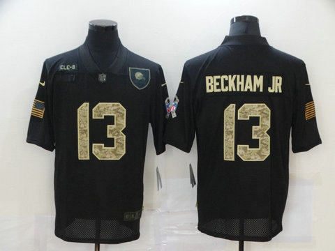 Nike Browns 13 Odell Beckham Jr. Black Camo 2020 Salute To Service Limited Jersey