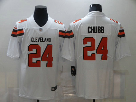 Nike Browns 24 Nick Chubb White Vapor Untouchable Limited Jersey