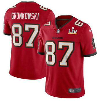 Nike Buccaneers 87 Rob Gronkowski Red 2021 Super Bowl LV Vapor Untouchable Limited Jersey