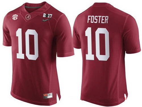 Nike Men's Alabama Crimson Tide #10 Reuben Foster Red 2017 Championship Game Patch Stitched CFP Limited Jersey