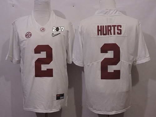 Nike Men's Alabama Crimson Tide #2 Jalen Hurts White 2017 Playoff Diamond Stitched College Football Rush Limited Jersey