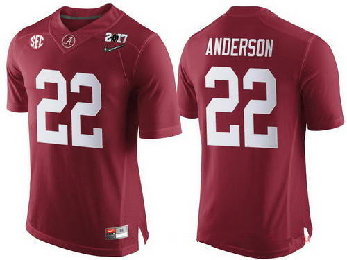 Nike Men's Alabama Crimson Tide #22 Ryan Anderson Red 2017 Championship Game Patch Stitched CFP Limited Jersey