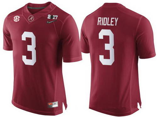 Nike Men's Alabama Crimson Tide #3 Calvin Ridley Red 2017 Championship Game Patch Stitched CFP Limited Jersey