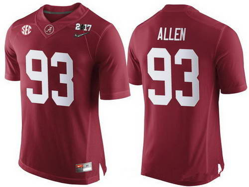 Nike Men's Alabama Crimson Tide #93 Jonathan Allen Red 2017 Championship Game Patch Stitched CFP Limited Jersey