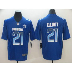 Nike NFC Cowboys 21 Ezekiel Elliott Royal 2019 Pro Bowl Game Men Jersey