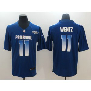 Nike NFC Eagles 11 Carson Wentz Royal 2019 Pro Bowl Game Men Jersey