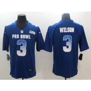 Nike NFC Seahawks 3 Russell Wilson Royal 2019 Pro Bowl Game Men Jersey