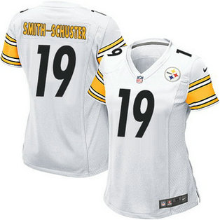 Nike NFL Pittsburgh Steelers Road #19 JuJu Smith-Schuster Women's Game White Jersey