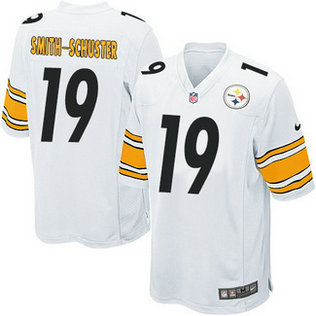 Nike NFL Pittsburgh Steelers Road #19 JuJu Smith-Schuster kids Game White Jersey