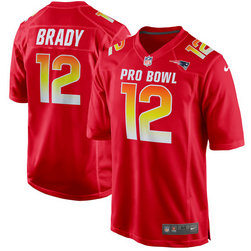 Nike Patriots 12 Tom Brady Red AFC 2018 Pro Bowl Game Jersey