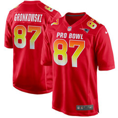 Nike Patriots 87 Rob Gronkowski Red AFC 2018 Pro Bowl Game Jersey