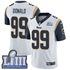 Nike Rams #99 Aaron Donald White Youth 2019 Super Bowl LIII Vapor Untouchable Limited Jersey