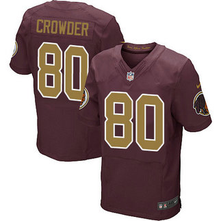 Nike Redskins Men's #80 Jamison Crowder Burgundy Stitched Red Alternate NFL 80TH Throwback Elite Jersey