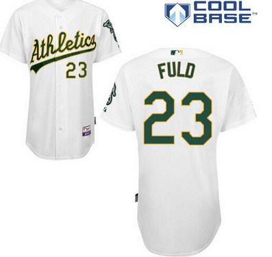 Oakland Athletics #23 Sam Fuld White Jersey