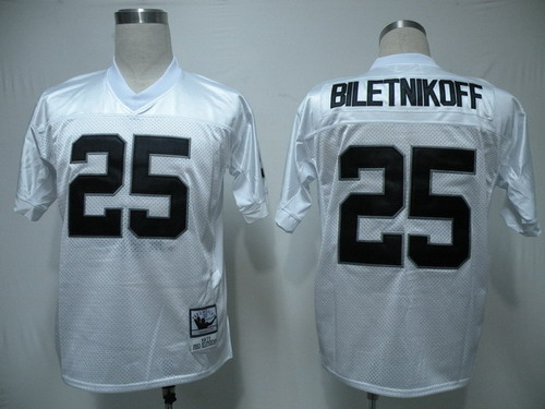 Oakland Raiders #25 Fred Biletnikoff White Throwback Jersey