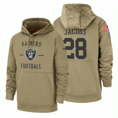 Oakland Raiders #28 Josh Jacobs Nike Tan 2019 Salute To Service Name & Number Sideline Therma Pullover Hoodie