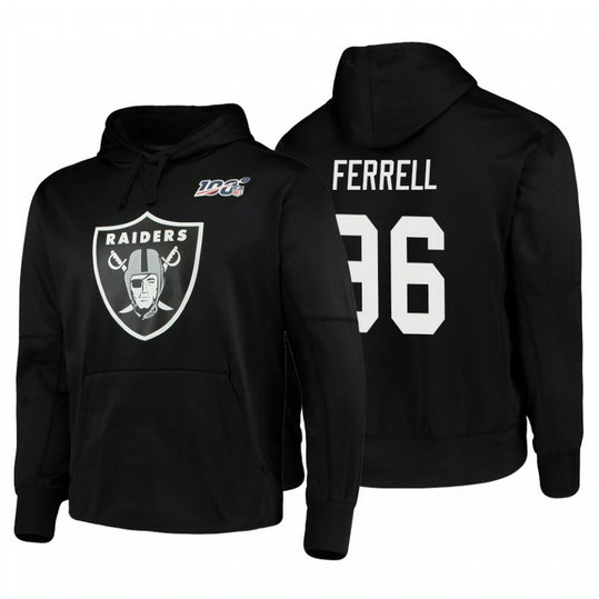 Oakland Raiders #96 Clelin Ferrell Nike NFL 100 Primary Logo Circuit Name & Number Pullover Hoodie Black