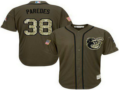 Orioles #38 Jimmy Paredes Green Salute To Service Stitched Baseball Jersey