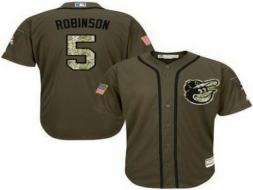 Orioles #5 Brooks Robinson Green Salute To Service Stitched Baseball Jersey