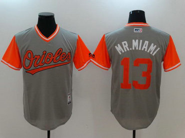 Orioles 13 Manny Machado Mr. Miami Majestic Gray 2017 Players Weekend Nickname Jersey