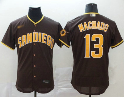 Padres #13 Manny Machado Brown Authentic Home Stitched Baseball Jersey